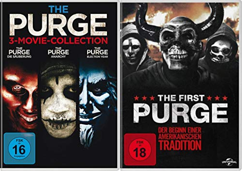 The Purge - 1+2+3 Movie-Collection + Teil 4 The First Purge DVD Set (4 DVDs)