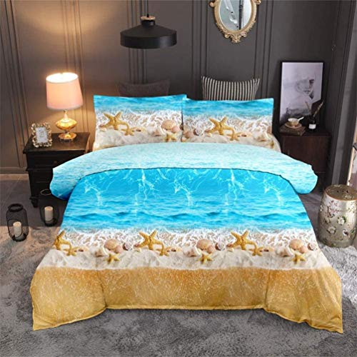 Amcyt 3D Bed Linen Set Beach Holiday Style Comfortable Beach Scenic Starfish Duvet Cover Bedding Set - Duvet Cover and Pillowcase, 1, 220*240