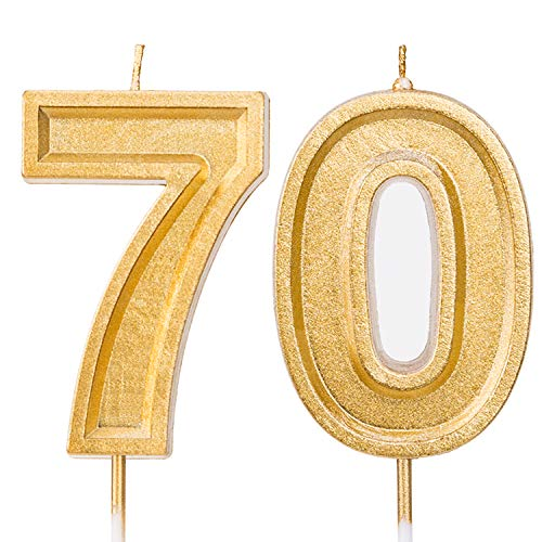 LUTER 2.76 Inches Large Birthday Candles Gold Glitter Birthday Cake Candles Number Candles Cake Topper Decoration for Wedding Party Kids Adults, Number 70