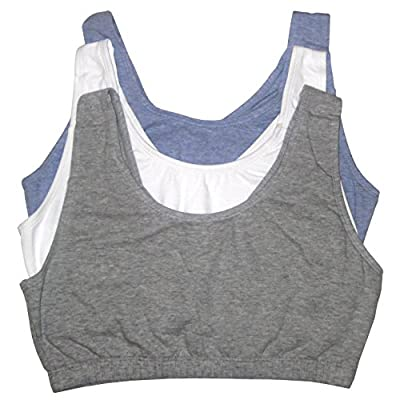 Fruit of the Loom Womens Tank Style Sports Bra, Grey Heather/White/Blue Heather - 3 Pack, 50