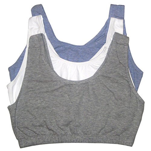 Fruit of the Loom Womens Tank Style Sports Bra, Grey Heather/White/Blue Heather - 3 Pack, 48