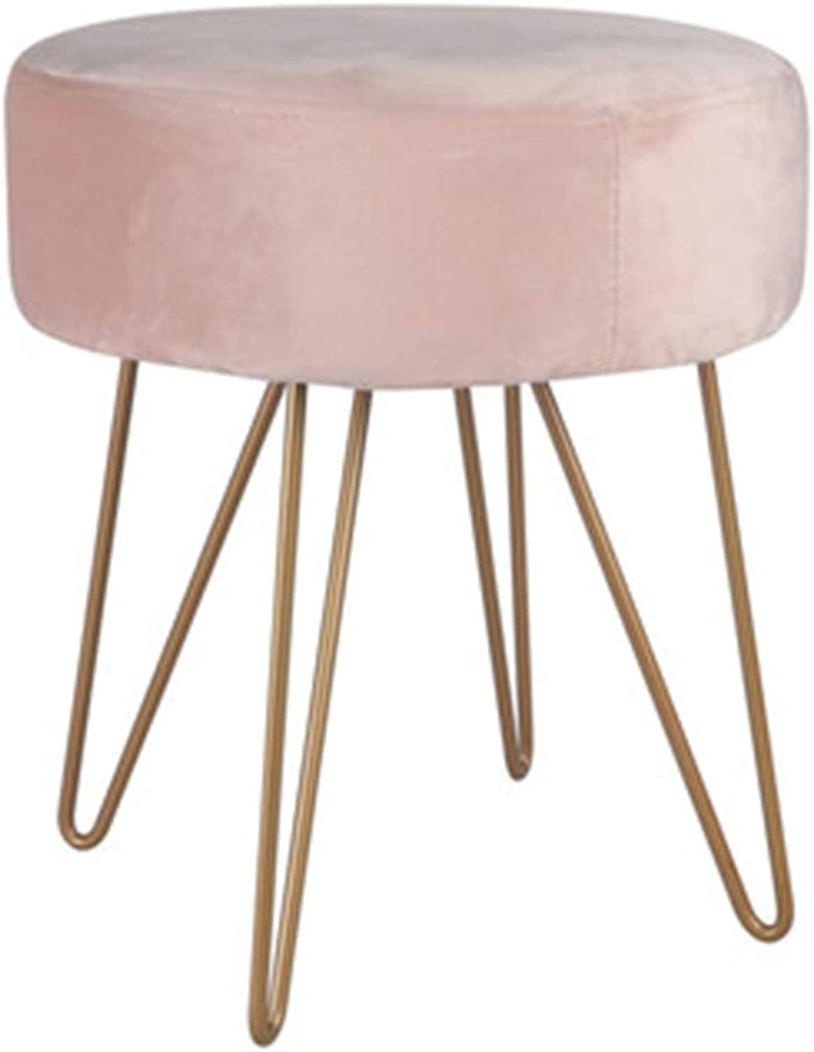 Stool Nordic Wrought Iron Dressing Stool Modern Minimalist shoes Footstool Detachable and Clean Cloth Cover Bedroom Living Room,A
