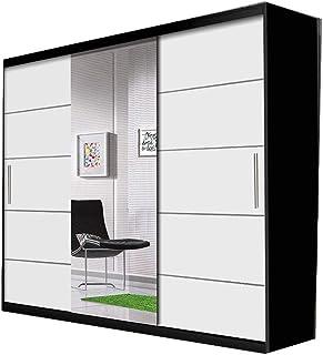 E-MEUBLES Armoire, Penderie avec 3 Portes coulissantes (L x H x P): 233x218x61 Alfa (Noir+ Blanc + Miroir)
