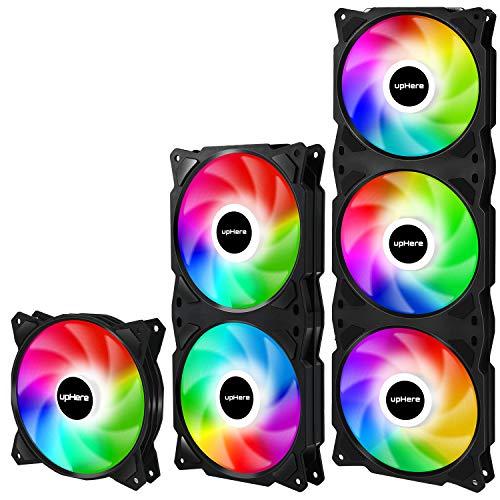 upHere PF720CF4 Suite-Produkte 4-PIN PWM LED Regenbogen Silent Lüfter für Computergehäuse, integriertes Rahmendesign,einfach Kabelmanagement