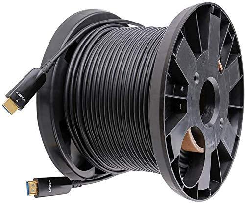 DTECH Cavo in fibra di vetro HDMI da 50 m con 4 K 30 Hz e 1080p 60 Hz HD Video 3D HDCP CEC ad alta velocità (164 piedi), nero