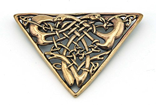 LynnAround Bronze Celtic Brooch Vintage Triangle Shaped Filigree Irish Norse Jewelry from Thailand (Brooch V.1)