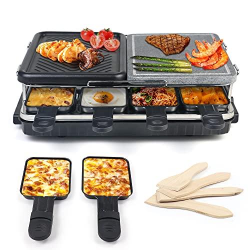 Raclette per 8 Persone, Grill con Piastre in Metallo e Pietra Naturale 2-In-1 Griglia, Termostato Regolabile - 1300W Nero