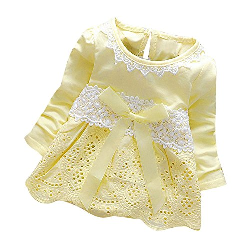 K-youth Vestidos para Niñas Bebes Ropa Bebe Niña Recien Nacido Vestido Bebe Niña Invierno Encaje Vestido De Princesa Niña Vestido de Manga Larga con Cuello Redondo para Niñas(Amarillo, 0-6 Meses)