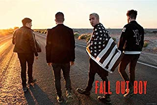 Buyartforless Fall Out Boy -Group with Flag 36x24 Art Print Poster American Beauty/American Psycho