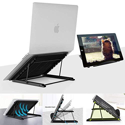 V'rtuem Laptop Stand Adjustable, Portable, Foldable Desk | Ventilated Desktop Riser | Standing Bed Table Universal Ergonomic Tray | iPad iM(ac) Notebook Computer Tablet Holder Bed Table | Black