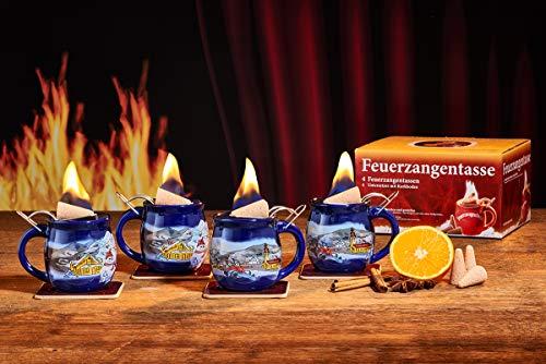 Feuerzangentasse 4er-Set, Blau/Winter, mit Rum - für Feuerzangenbowle