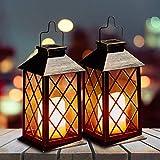 Solar Candle Lantern, OxyLED Flickering Flame Hanging Solar Lanterns, IP44 Waterproof LED Solar