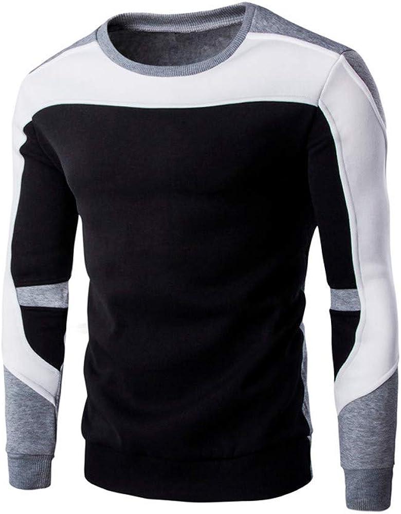 Men's Pullover Sweatshirts Clearance Mens Casual Long Sleeve Slim Patchwork Colorblock Sports Outwear Hooded Sweatshirt