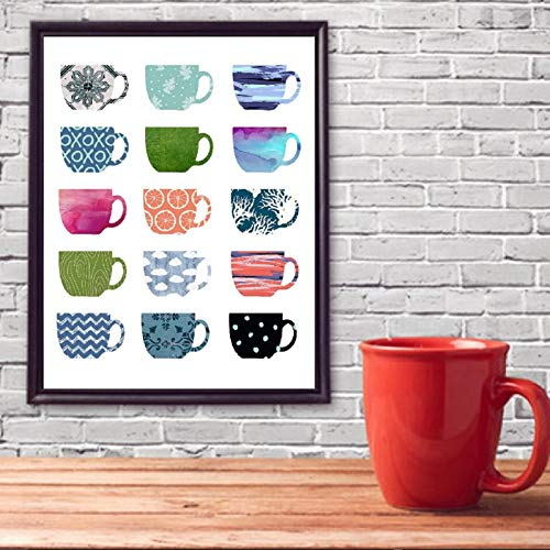 N / A Qticn Decorative Paintings Coffee Art Print Multi Color Coffee Cups Canvas Painting Kitchen Art Wall Pictures Cafe Modern Decoration Posters and Prints-16x24inch