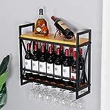 SSS Furniture Wine Bottle Stemware Glass Rack, Industrial Wine Racks Wall Mounted with 8 Stem Glass Holder,2-Tier Wood Shelf, Wall Mounted Wine Racks 31.5in