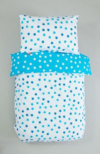 Kadolis Housse de Couette bébé Coton Bio Motifs étoiles + taie d'oreiller 100 x 140 cm Etoile Bleue