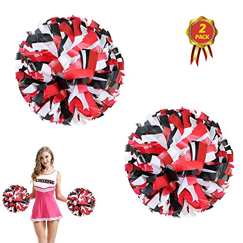 AUHOTA 2 Stück Kunststoff Cheerleading Pom Poms mit Taktstock Griff, Cheerleader Pompons Handblumen (Schwarz/Rot/Weiß)