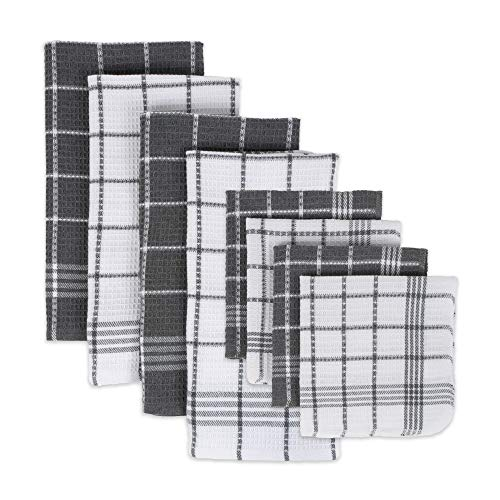 DII Waffle Weave Kitchen Collection 100% Cotton, Machine Washable, Fast Drying and Absorbent, Set, Gray 8 Count