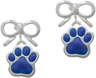 Silvertone Large Royal Blue Paw - Silvertone Layla Bow Clip on Earrings