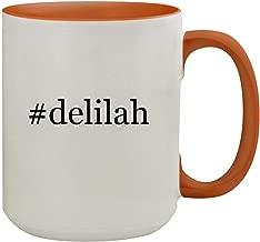 #delilah - 15oz Hashtag Colored Inner & Handle Ceramic Coffee Mug, Orange