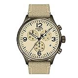 Tissot Men's Chrono XL Stainless Steel Swiss Quartz Watch with Fabric Strap, Beige, 22 (Model: T1166173726701)
