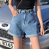 FENGLINZEKANG Damen Denim Shorts Vintage Hohe Taille Weites Bein Caual Kurze Hosen Jeans -