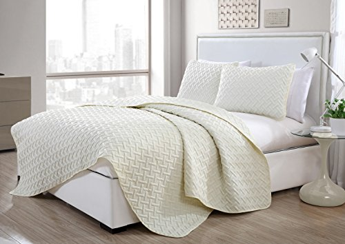 3pc King Nina Embossed Quilt Set Ivory - VCNY Home