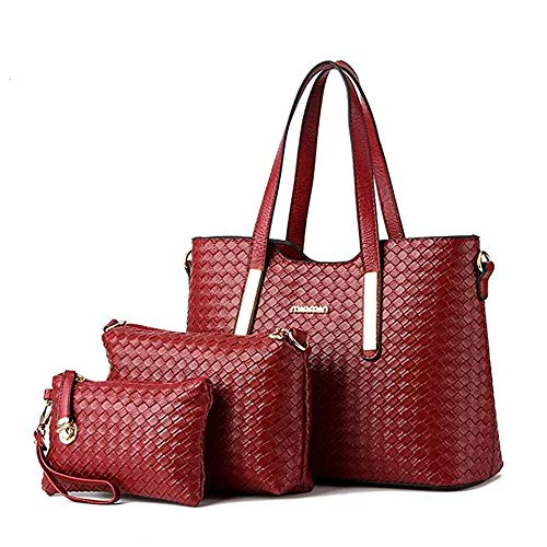AlwaySky Damen-Handtaschen-Set aus PU-Leder mit geflochtenem Design, 3-teiliges Set, Wein, 1