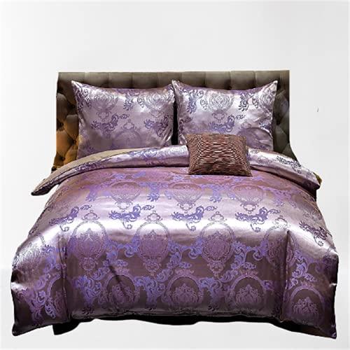 Textiles para El Hogar De Estilo Europeo Ropa De Cama De Satén De Alta Gama Funda Nórdica con Funda De Almohada Suave Y Sedosa, Fácil De Limpiar 228x228cm