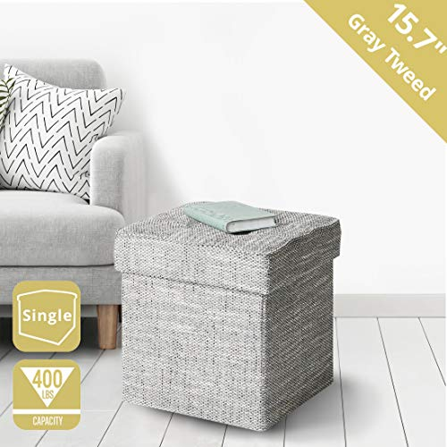 Seville Classics 15.7' Tweed Foldable Storage Ottoman Footrest Toy Box Coffee Table Stool, Single