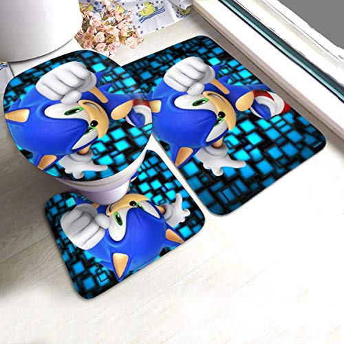 3 Pieces Bath Rugs Set for Halloween Party, Anti Slip Bathroom Rug, Contour Mat, Lid Cover for Beach Vanity, Best Thick Shower Mat with Sonic The Hedgehog Secrets of The Medal Game Poster Fashion