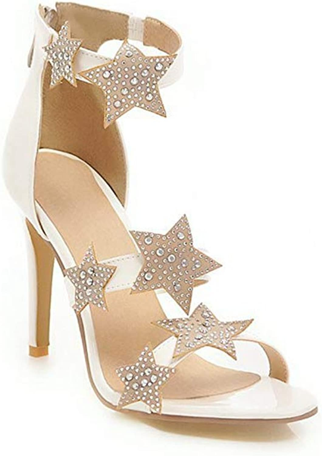 T-JULY Ladies Sexy Stilettos Heel Ankle Strap Stars Pumps Sandals for Women Open Toe Back Zipper Party Dress shoes