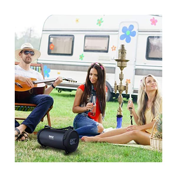 Portable Speaker, Boombox, Bluetooth Speakers, Rechargeable Battery, Surround Sound, Digital Sound Amplifier, USB/SD/FM Radio, Wireless Hi-Fi Active Stereo Speaker System in Black (PBMSPG7) 4