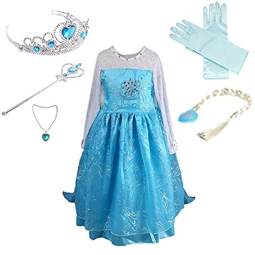 Anbelarui Girls New Princess Party Costume Long Dress Up with Tiara&Wand&Necklace&Wig&Glove,Complete Set(3-4 Years, 02 Dress&Accessories Set)