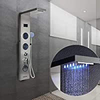 Columna de Ducha,LED Azul, Pantalla LCD, con Ducha de Mano, 5 Modos de Ducha