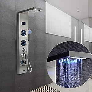 Columna de Ducha, LED Azul, Pantalla LCD, con Ducha de Mano, 5 Modos de Ducha