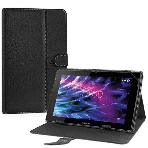 eFabrik Universal Schutztasche für Medion Lifetab S10365 Hülle / S10366 Tasche Hülle Case Cover Schutzhülle Stand-Funktion Leder-Optik schwarz