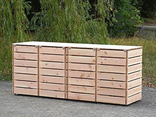4er Mülltonnenbox / Mülltonnenverkleidung 240 L Holz, Douglasie Natur - 11