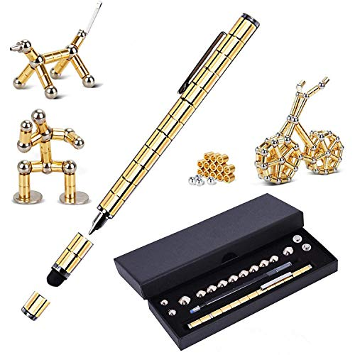 Magnetic Fidget Pen Toy Magnet Gel Pen Fidget Toy Think Ink Pen, can be Transformed into a Variety of Creative for Adult and Children Stress Relief Office Product (Gold)