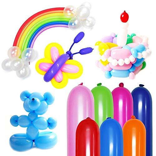Koogel 400PCS 260Q Twisting Animal Balloons Assorted Color Thickening Latex Twisting Modeling Long Magic Balloons for Animal Shape Weddings, Birthdays Clowns, Xmas Presents