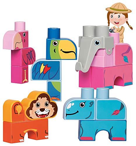Jouets Ecoiffier -7804 - Coffret de briques à empiler Animaux exotiques Abrick Maxi – Jeu de construction pour enfants – Dès 12 mois – Fabriqué en France
