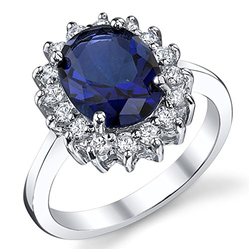 Solid Sterling Silver Kate Middleton's Engagement Ring with Blue Sapphire Cubic Zirconia Size J 1/2