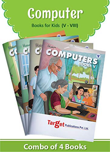 Blossom Basic Knowledge of Computer Learning Books for Kids | Level 5 to 8 | Computer Fundamentals, Applications and Features | Knowledge on Powerpoint, QBASIC, Virus, Programming in C and C++, HTML, DBMS and .NET | Set of 4 Books