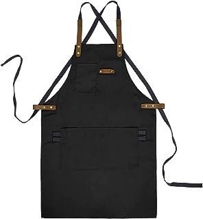 YUENA CARE Ajustable Delantal de Trabajo Mandil de 100% Algodón Unisex con Diseño de Espalda Correas Cruzadas de Moda para Cafetería Tienda de Postres Restaurante Negro