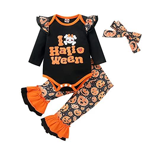 Conjuntos Infantil 2 Piezas Camiseta Manga Larga con Volante, PantalóN Acampanado con Calabaza Impresas Disfraz Halloween Conjuntos Monos Calabaza