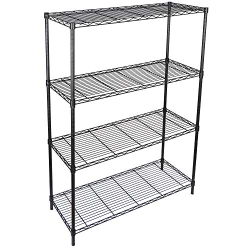 SUPER DEAL Black 4-Shelf Heavy Duty Storage Wire Shelving Unit for Restaurant Garage Pantry Kitchen Garage Rack (36L x 14W x 54H)