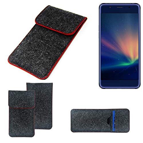 K-S-Trade® Handy Schutz Hülle Für Hisense A2 Pro Schutzhülle Handyhülle Filztasche Pouch Tasche Case Sleeve Filzhülle Dunkelgrau Roter Rand
