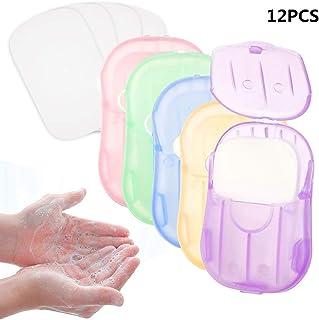 Wanxida 12x Cajas (240 hojas) Jabón Papel Jabón Hojas Jabón de papel desechable Mini Jabón de papel portátil con caja de plástico para acampar al aire libre Senderismo