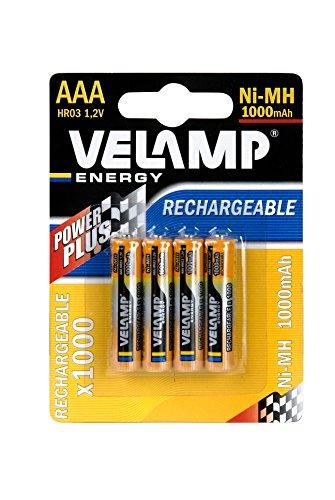VELAMP HR03/4BP Batterie Ricaricabili Mini Stilo AAA ad Alta Capacità 1,2V 1000 mAh, Tecnologia Ni-MH, ricaricabili circa 1000 volte, Blister 4 Pezzi