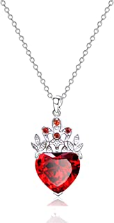 7Queen Royal Red Heart Ruby Necklace and Tiara Descendants Jewelry Queen of Hearts Eive Costume for Girls Teen Halloween V...